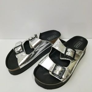 Top Shop Silver Double Buckle Flatform Sandals